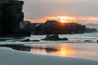Sunset at the Cathedrals. Playa de las Catedrales, Galicia